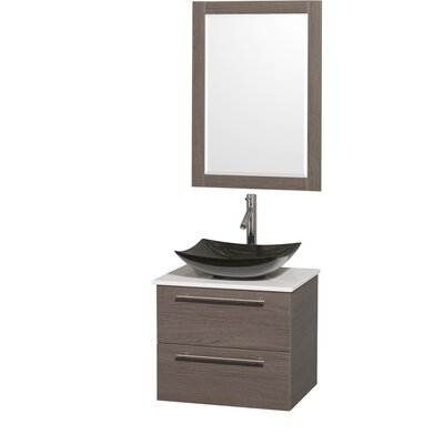 Amare 24 Single Gray Oak Bathroom Vanity Set with Mirror Sink Finish: Black Granite, Top Finish: White Man-Made Stone