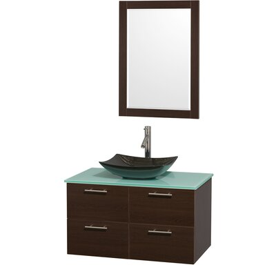 Amare 36 Single Espresso Bathroom Vanity Set with Mirror Sink Finish: White Carrera Marble, Top Finish: Green Glass