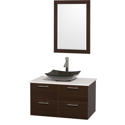 Amare 36 Single Espresso Bathroom Vanity Set with Mirror Sink Finish: Black Granite, Top Finish: White Man-Made Stone