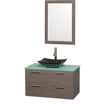 Amare 36 Single Gray Oak Bathroom Vanity Set with Mirror Sink Finish: White Carrera Marble, Top Finish: Green Glass