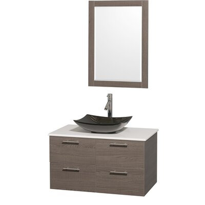 Amare 36 Single Gray Oak Bathroom Vanity Set with Mirror Sink Finish: Black Granite, Top Finish: White Man-Made Stone