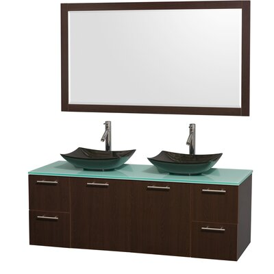 Amare 60 Double Espresso Bathroom Vanity Set with Mirror Sink Finish: Arista Black Granite, Top Finish: Green Glass