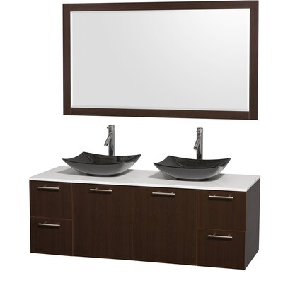 Amare 60 Double Espresso Bathroom Vanity Set with Mirror Sink Finish: Arista Black Granite, Top Finish: White Man-Made Stone