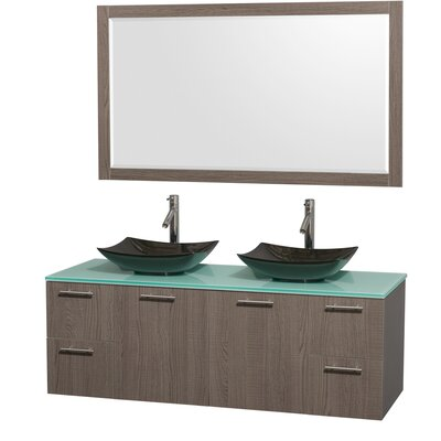 Amare 60 Double Gray Oak Bathroom Vanity Set with Mirror Sink Finish: Arista White Carrera Marble, Top Finish: Green Glass