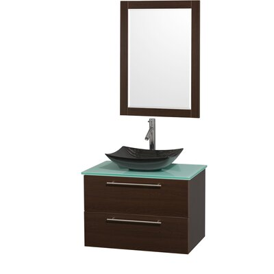 Amare 30 Single Espresso Bathroom Vanity Set with Mirror Sink Finish: Black Granite, Top Finish: Green Glass