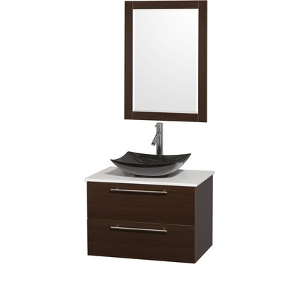 Amare 30 Single Espresso Bathroom Vanity Set with Mirror Sink Finish: White Carrera Marble, Top Finish: Green Glass