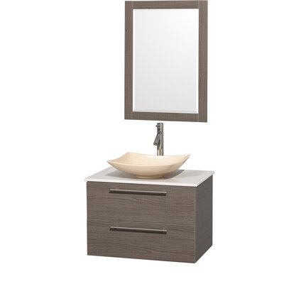 Amare 30 Single Gray Oak Bathroom Vanity Set with Mirror Sink Finish: White Carrera Marble, Top Finish: Green Glass