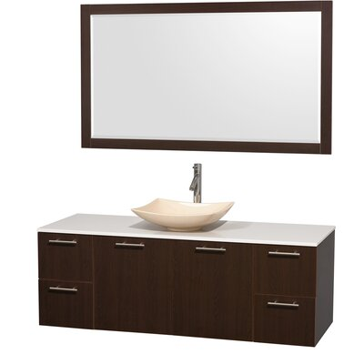 Amare 60 Single Espresso Bathroom Vanity Set with Mirror Sink Finish: Black Granite, Top Finish: Green Glass