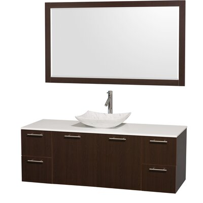 Amare 60 Single Espresso Bathroom Vanity Set with Mirror Sink Finish: White Carrera Marble, Top Finish: White Man-Made Stone