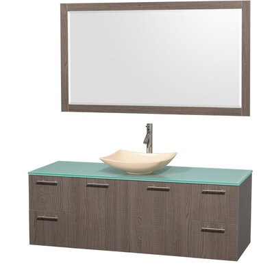 Amare 60 Single Gray Oak Bathroom Vanity Set with Mirror Sink Finish: Black Granite, Top Finish: Green Glass