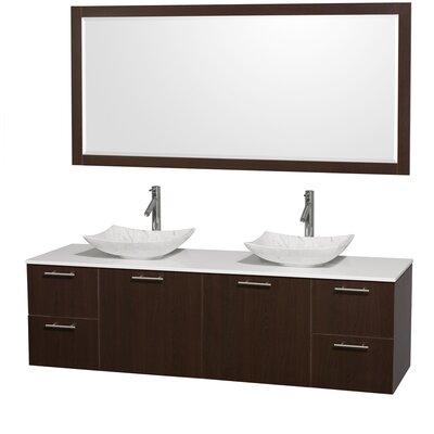 Amare 72 Double Espresso Bathroom Vanity Set with Mirror Sink Finish: White Carrera Marble, Top Finish: Green Glass