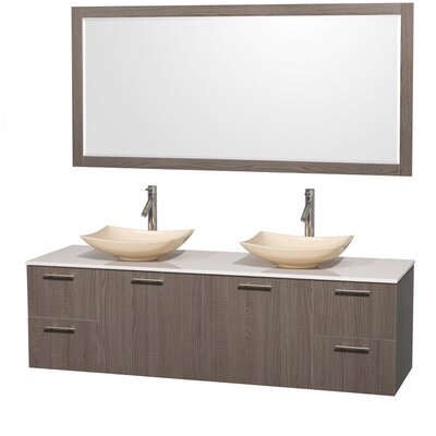 Amare 72 Double Gray Oak Bathroom Vanity Set with Mirror Sink Finish: Ivory Marble, Top Finish: Green Glass