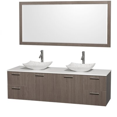 Amare 72 Double Gray Oak Bathroom Vanity Set with Mirror Sink Finish: White Carrera Marble, Top Finish: Green Glass