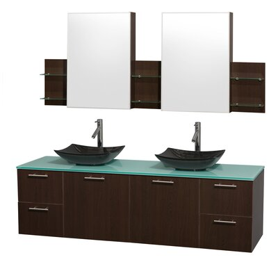 Amare 72 Double Espresso Bathroom Vanity Set with Medicine Cabinet Sink Finish: White Carrera Marble, Top Finish: White Man-Made Stone