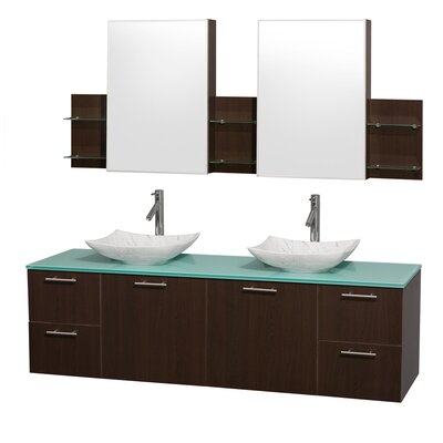 Amare 72 Double Espresso Bathroom Vanity Set with Medicine Cabinet Sink Finish: White Carrera Marble, Top Finish: Green Glass
