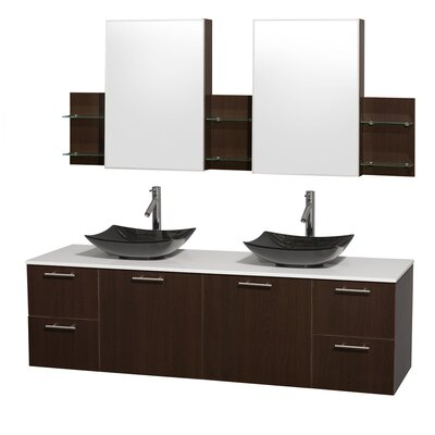 Amare 72 Double Espresso Bathroom Vanity Set with Medicine Cabinet Sink Finish: Black Granite, Top Finish: White Man-Made Stone