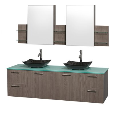 Amare 72 Double Gray Oak Bathroom Vanity Set with Medicine Cabinet Sink Finish: Black Granite, Top Finish: Green Glass