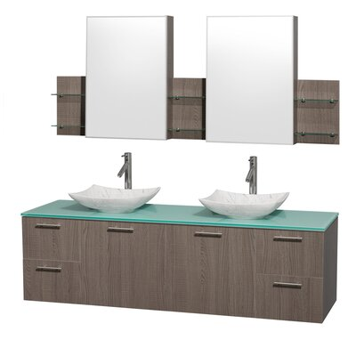 Amare 72 Double Gray Oak Bathroom Vanity Set with Medicine Cabinet Sink Finish: White Carrera Marble, Top Finish: Green Glass