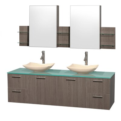 Amare 72 Double Gray Oak Bathroom Vanity Set with Medicine Cabinet Sink Finish: Ivory Marble, Top Finish: Green Glass