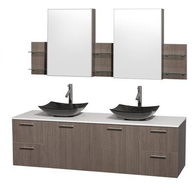 Amare 72 Double Gray Oak Bathroom Vanity Set with Medicine Cabinet Sink Finish: Black Granite, Top Finish: White Man-Made Stone