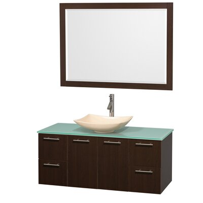 Amare 48 Single Espresso Bathroom Vanity Set with Mirror Sink Finish: Ivory Marble, Top Finish: Green Glass