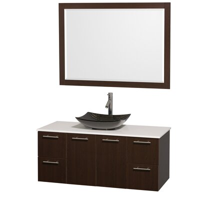 Amare 48 Single Espresso Bathroom Vanity Set with Mirror Sink Finish: Black Granite, Top Finish: White Man-Made Stone