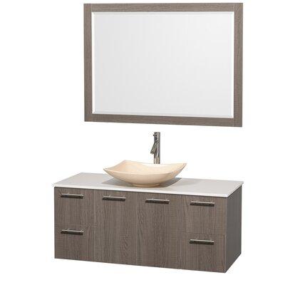 Amare 48 Single Gray Oak Bathroom Vanity Set with Mirror Sink Finish: Ivory Marble, Top Finish: White Man-Made Stone