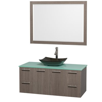 Amare 48 Single Gray Oak Bathroom Vanity Set with Mirror Sink Finish: Black Granite, Top Finish: Green Glass