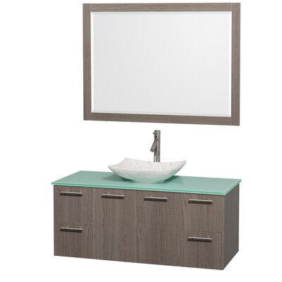 Amare 48 Single Gray Oak Bathroom Vanity Set with Mirror Sink Finish: White Carrera Marble, Top Finish: Green Glass
