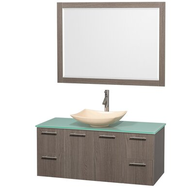 Amare 48 Single Gray Oak Bathroom Vanity Set with Mirror Sink Finish: Ivory Marble, Top Finish: Green Glass
