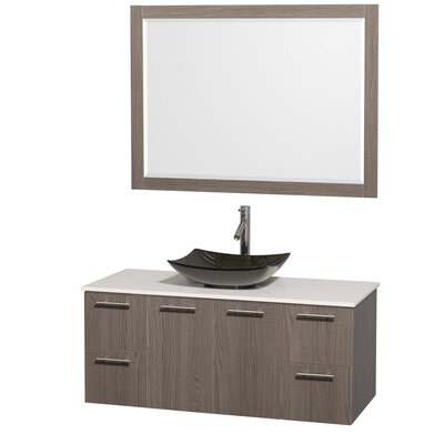 Amare 48 Single Gray Oak Bathroom Vanity Set with Mirror Sink Finish: Black Granite, Top Finish: White Man-Made Stone