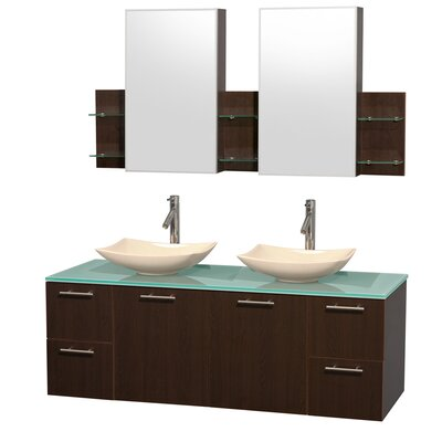 Amare 60 Double Espresso Bathroom Vanity Set with Medicine Cabinet Sink Finish: Arista Ivory Marble, Top Finish: Green Glass