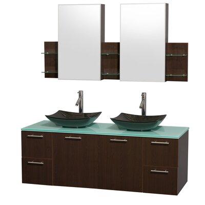 Amare 60 Double Espresso Bathroom Vanity Set with Medicine Cabinet Sink Finish: Arista Black Granite, Top Finish: Green Glass