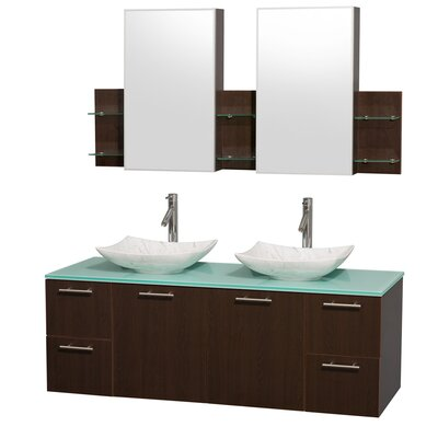 Amare 60 Double Espresso Bathroom Vanity Set with Medicine Cabinet Sink Finish: Arista White Carrera Marble, Top Finish: Green Glass