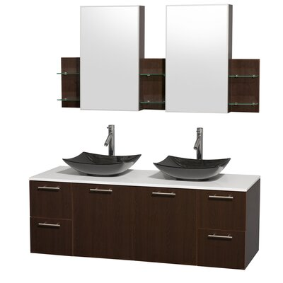 Amare 60 Double Espresso Bathroom Vanity Set with Medicine Cabinet Sink Finish: Arista Black Granite, Top Finish: White Man-Made Stone