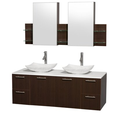 Amare 60 Double Espresso Bathroom Vanity Set with Medicine Cabinet Sink Finish: Arista White Carrera Marble, Top Finish: White Man-Made Stone