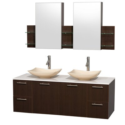 Amare 60 Double Espresso Bathroom Vanity Set with Medicine Cabinet Sink Finish: Arista Ivory Marble, Top Finish: White Man-Made Stone