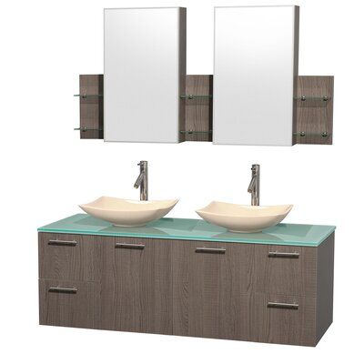 Amare 60 Double Gray Oak Bathroom Vanity Set with Medicine Cabinet Sink Finish: Arista Ivory Marble, Top Finish: Green Glass