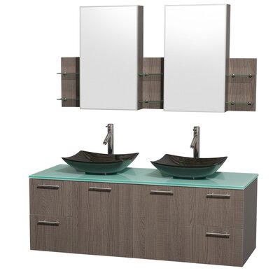Amare 60 Double Gray Oak Bathroom Vanity Set with Medicine Cabinet Sink Finish: Arista Black Granite, Top Finish: Green Glass