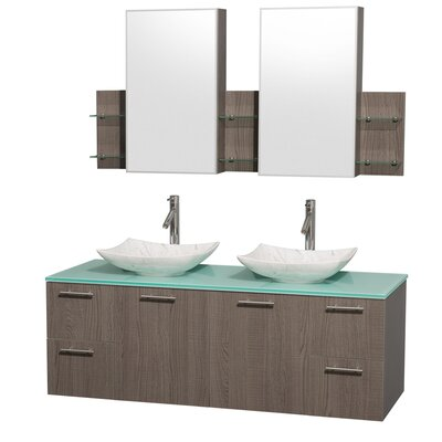 Amare 60 Double Gray Oak Bathroom Vanity Set with Medicine Cabinet Sink Finish: Arista White Carrera Marble, Top Finish: Green Glass