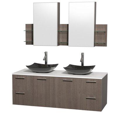 Amare 60 Double Gray Oak Bathroom Vanity Set with Medicine Cabinet Sink Finish: Arista Black Granite, Top Finish: White Man-Made Stone