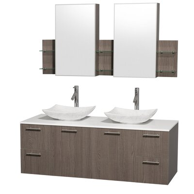 Amare 60 Double Gray Oak Bathroom Vanity Set with Medicine Cabinet Sink Finish: Arista White Carrera Marble, Top Finish: White Man-Made Stone