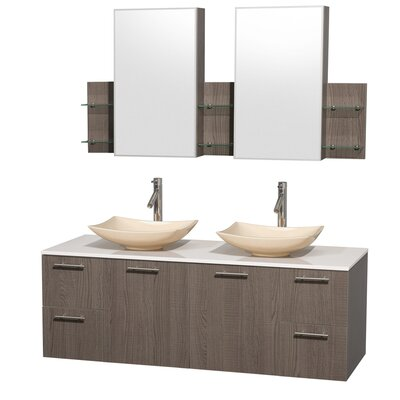 Amare 60 Double Gray Oak Bathroom Vanity Set with Medicine Cabinet Sink Finish: Arista Ivory Marble, Top Finish: White Man-Made Stone