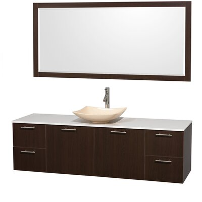 Amare 72 Single Espresso Bathroom Vanity Set with Mirror Sink Finish: Ivory Marble, Top Finish: White Man-Made Stone