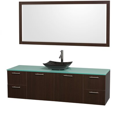 Amare 72 Single Espresso Bathroom Vanity Set with Mirror Sink Finish: Black Granite, Top Finish: Green Glass