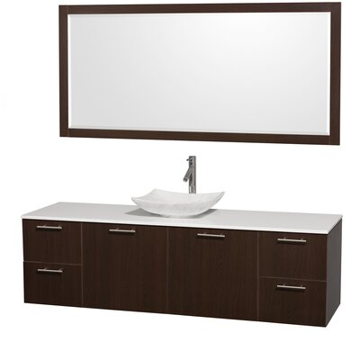 Amare 72 Single Espresso Bathroom Vanity Set with Mirror Sink Finish: White Carrera Marble, Top Finish: White Man-Made Stone