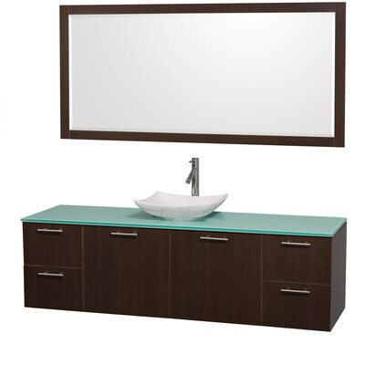 Amare 72 Single Espresso Bathroom Vanity Set with Mirror Sink Finish: White Carrera Marble, Top Finish: Green Glass