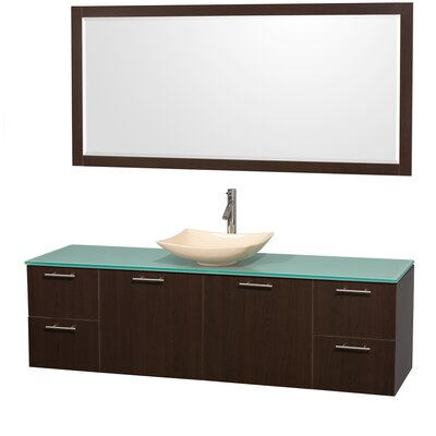 Amare 72 Single Espresso Bathroom Vanity Set with Mirror Sink Finish: Ivory Marble, Top Finish: Green Glass