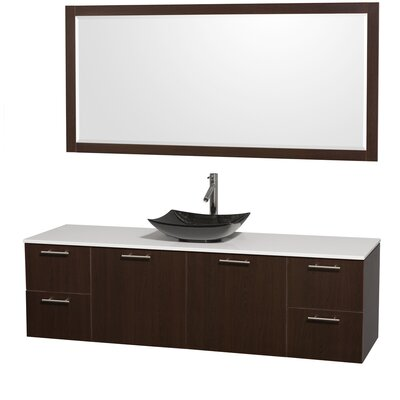 Amare 72 Single Espresso Bathroom Vanity Set with Mirror Sink Finish: Black Granite, Top Finish: White Man-Made Stone
