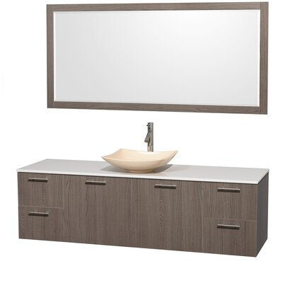 Amare 72 Single Gray Oak Bathroom Vanity Set with Mirror Sink Finish: Ivory Marble, Top Finish: White Man-Made Stone